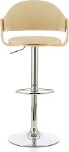 Emden Bar Stool In Oak And Cream PU With Chrome
