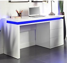 Emerson Computer Desk In White High Gloss With LED
