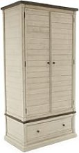 Emery Wooden Wardrobe In Antique White With 2 Doors