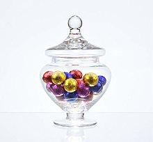 EMH Footed Glass Jar Cookie Sweet Bonbon Storage