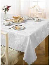 Emma Barclay Damask Rose Tablecloth, White, 50 x