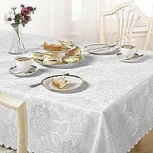 Emma Barclay Damask Rose Tablecloth, White,