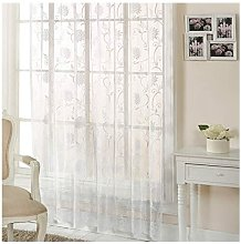 Emma Barclay Jamillia Floral Embroidered Lace Curtain Panel, White, 57 x 54 Inch