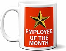 Employee of The Month Gold Star ON RED 15oz