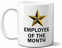 Employee of The Month Gold Star ON White 15oz