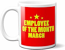 Employee of The Month March RED Yellow Stars -