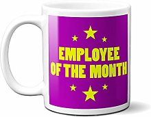 Employee of The Month Purple Stars - White 15oz
