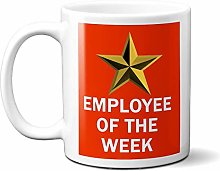 Employee of The Week Gold Star ON RED 15oz Ceramic