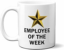 Employee of The Week Gold Star ON White 15oz