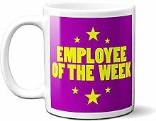 Employee of The Week Purple Yellow Stars - White