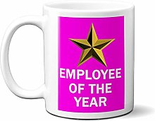 Employee of The Year Gold Star ON Pink 15oz