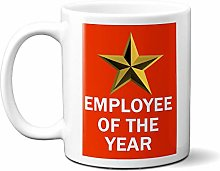 Employee of The Year Gold Star ON RED 15oz Ceramic