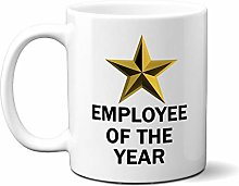 Employee of The Year Gold Star ON White 15oz