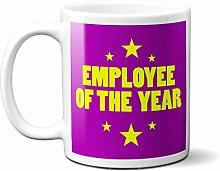 Employee of The Year Purple Yellow Stars - White