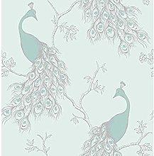 Empress Peacock Wallpaper Duck Egg Blue Teal Birds