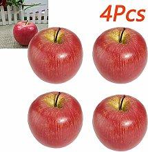 empty 4pcs Artificial Fruit Plastic Apple Fake Red