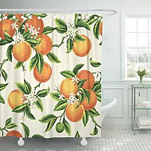 Emvency Shower Curtain Yellow Blossom with Orange