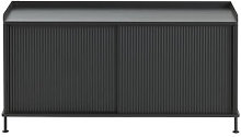 Enfold Low cabinet - / Acier & chêne naturel by
