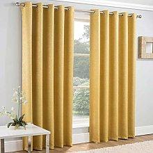 Enhanced Living Vogue Ochre, Lined Eyelet Curtain,
