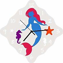 Enjoy Your Time Childrens Mermaid Wall Clock 32cm