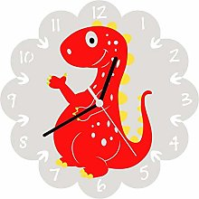 Enjoy Your Time Dinosaur Childrens Wall Clock Red