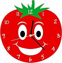 Enjoy Your Time Tomato Kitchen Wall Clock Red