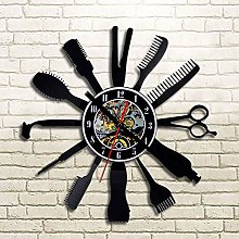 Enofvd Barber shop vinyl record wall clock design