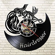 Enofvd Hairdresser Scissors Retro Wall Clock Hair