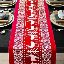 ENTHUR Christmas Table Runners Printed Linen Table
