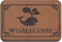 Entry Way Door Mat Rug with Non Slip Backing Whale