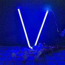 ENUOLI Blue LED Neon Light Letter V Letter Neon