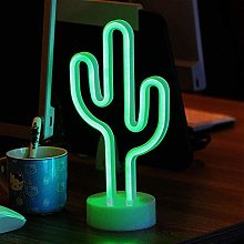 ENUOLI Green Cactus Neon Signs with Base LED Neon