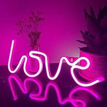 ENUOLI Love Neon Sign Pink Neon Light LED Neon