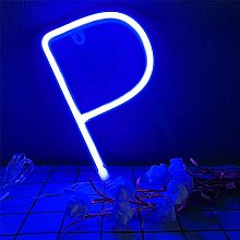 ENUOLI Neon Letter P Bright Neon Blue Lighting up