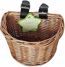 Envisioni Wicker D-Shaped Bike Basket, Portable