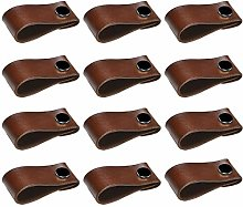 EOPER 12 Pack Leather Drawer Handles,Single Hole