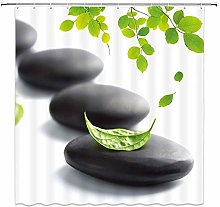 EQKWJ Black Pebble Shower Curtain Decor Green