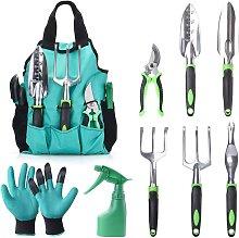 Ergonomic 9-Piece Gardening Tool Kit with Pruner,