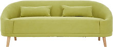 Errai 3 Seater Linen Sofa In Green With Rubberwood