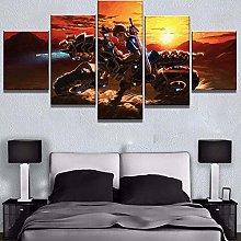 ERSHA 5 Piece 5 Panel Wall Art Photo On Canvas