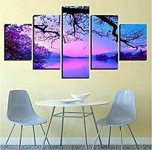 ERSHA Purple Sunset Trees Lake 5 Pieces Canvas