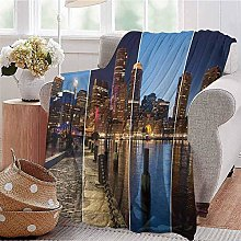 ERshuo Boys Throw Blanket Boston Skyline Day And
