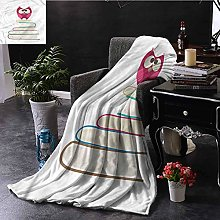 ERshuo Cartoon Teal Throw Blanket Owl Sitting On A