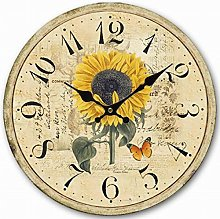 Eruner Sunflower Wood Clock,14-Inch Butterfly