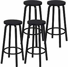eSituro Bar Stools Black Barstools Set of 4 Solid