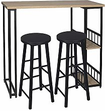 eSituro Bar Table with 2 Bar Stools Set Kitchen