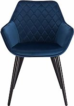 eSituro Blue Dining Chair Velvet Classic Bed Chair