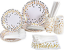 Esonmus 20 Sets Paper Plates Cups Straws Spoons