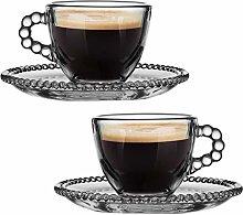 Espresso Shot Glass Set of 2 - 50ml Vintage Coffee