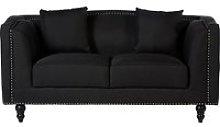 Essence Contemporary Fabric 2 Seater Sofa In Black